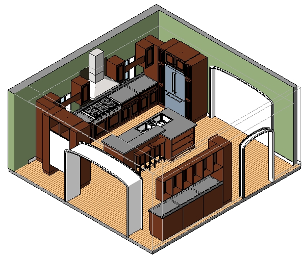 Single-family_kitchen_w-island_smartbim-3d